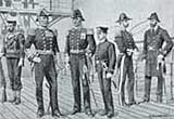 Illustration showing uniforms of the British Navy, 1897