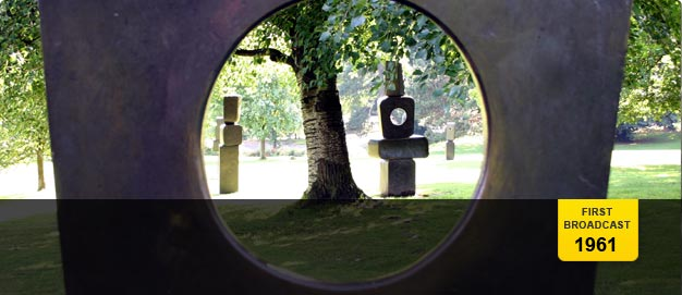 'Family of Man', by Barbara Hepworth. Blocks of stone with circular holes cut into them.