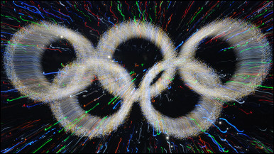 Olympic rings are illuminated at the 2008 Beijing Olympics