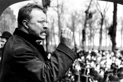 President Theodore Roosevelt (1858-1919) speaks to a crowd during a Western tour