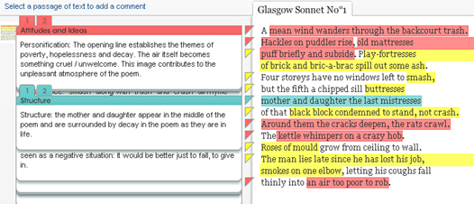 example annotations from Glasgow Sonnet Number One by Edwin Morgan