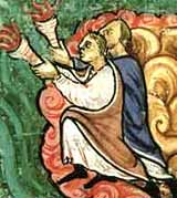 Detail of painted angels on an Anglo-Saxon manuscript