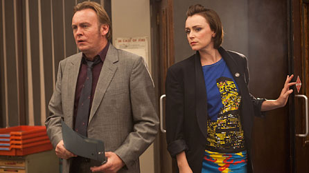Ashes To Ashes: DCI Gene Hunt (Philip Glenister) and DI Alex Drake (Keeley Hawes) (image: Kudos/BBC)