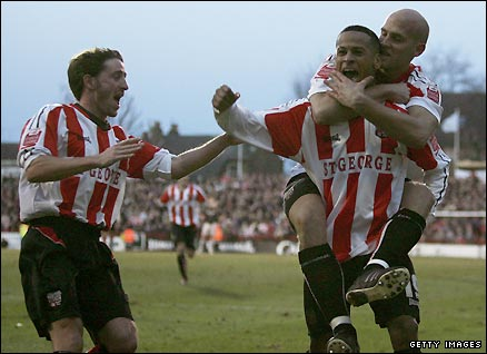 DJ Campbell celebrates scoring for Brentford against Sunderland in the FA Cup in January 2006.
