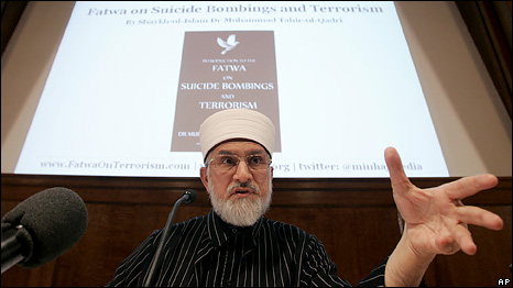 Muslim scholar Dr Muhammad Tahir-ul-Qadri speaks at the UK launch of the Fatwa on suicide bombings and terrorism held by non-governmental organization Minhaj-ul-Quran International in London, 2 March 2010