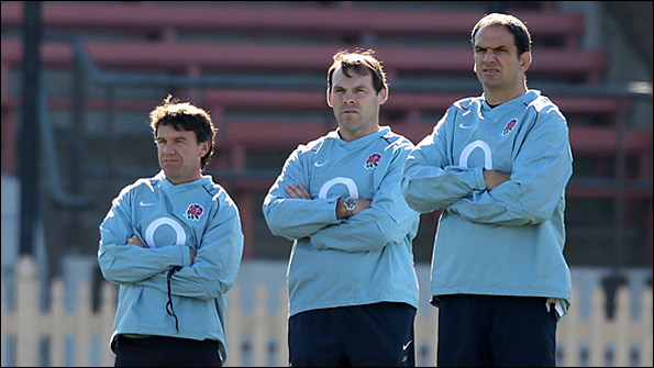 England chief Martin Johnson (right) with forwards coach John Wells (centre) and defence coach Mike Ford (left)