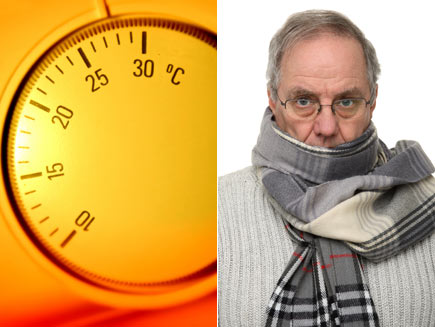 First half: Thermostat turned to a high temperature. Second half: Man wrapped in scarf and warm clothes.