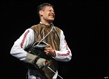 GB fencer Richard Kruse reacts to defeat in Beijing