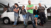 Will Mellor (front), Joel Fry, Naomi Bentley, Georgia Moffett and Clive Mantle star in White Van Man