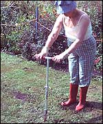 Barbara rids her lawn of weeds.