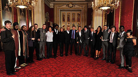 Goldie's Band - By Royal Appointment.  L-R: Will, Jasdeep, Shahid, Finn, Sean, Jack, Afrika, Soweto Kinch, Cerys Matthews, Goldie, Prince Harry, Steve Abbott, Lester, Guy Chambers, Ms Dynamite, Theone, Vahan, Kwabena and Natalie.