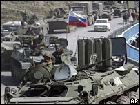 Russian tanks on way to South Ossetia border