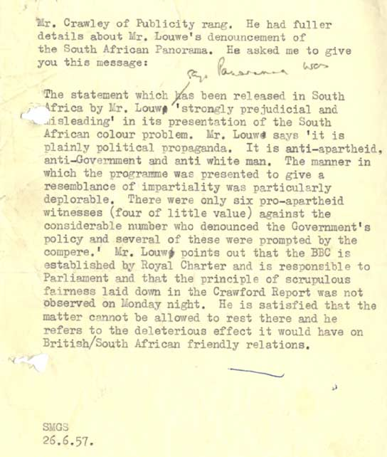 A publicity statement about the 'Panorama' report on South Africa in 1957.