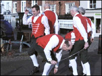 Claro Sword and Morris Men marking Plough Sunday in Knaresborough.