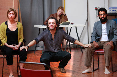 Michael Sheen (Hamlet), Eileen Walsh (Rosencrantz) and Adeel Akhtar (Guildenstern) in rehearsal at the Copperfield Rehearsal Rooms SE1. Photo: Simon Annand