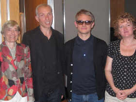 (L to R) B S Johnson's agent Diana Tyler, his son Steven Johnson, Martin Freeman and producer Mary Peate