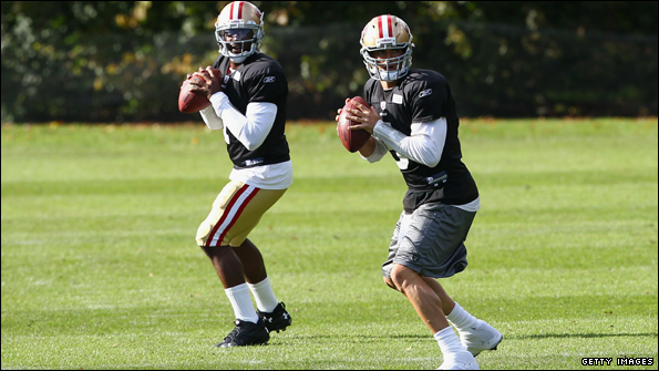 Troy Smith (L) was announced as starting quarterback for Sunday's game. David Carr (R) was widely expected to take the injured Alex Smith's place.