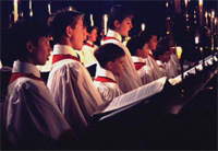 A church choir celebrating Christmas