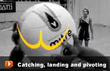 athlete catching, landing and pivoting
