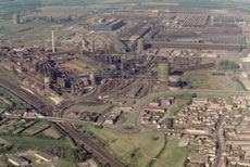 Aerial view of steel works in Corby