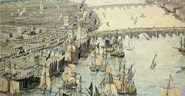 Part of the Rhinebeck Panorama, a watercolour of early 19th century London