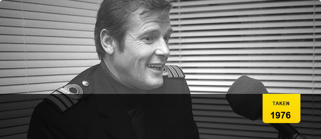Roger Moore on the set of 'The Spy Who Loved Me'.