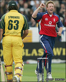 Paul Collingwood after dismissing Australia's Andrew Symonds in 2005