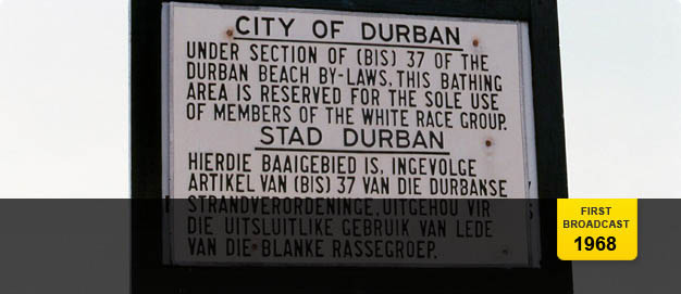 A 'Whites only' sign on Durban beach.