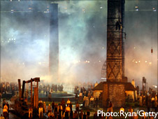 Opening Ceremony London 2012 Olympics. Industrial scene