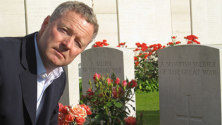 Rory Bremner at the war cemetery at Dud Corner near the site of the Battle of Loos