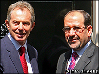 Prime Minister Tony Blair greets his Iraqi counterpart