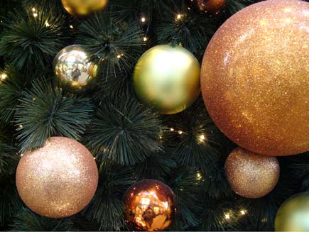 A collection of various baubles decorating a dark green Christmas tree