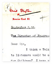 A letter from Enid Blyton to the head of BBC programmes.