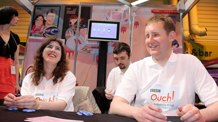 At the end of a tiring three days, Ouch's Damon Rose and Emma Tracey are still on our stand, and still smiling