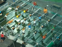 Overhead view of the table football