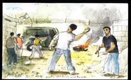 Palestinians throwing stones by Paul Gent