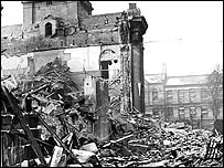 St Thomas's Church after a bombing raid