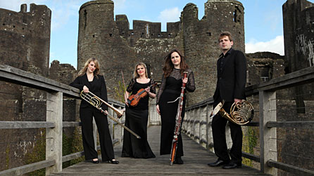 Left to right: Arlene MacFarlance (trombone), Gwenllian Haf Richards (violin), Amy Harman (bassoon), Tim Thorpe (principal horn).