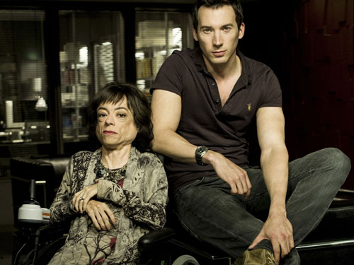 Liz Carr as Clarissa Mullery with her working partner Jack Hodgson.