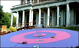 Picture: Lawn darts board sits on the Fame Academy lawn