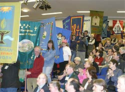 Banner parade at the Unitarian General Assembly annual meeting 2003