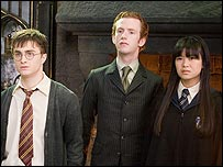 L to R: Dan Radcliffe, Chris Rankin and Kate Leung