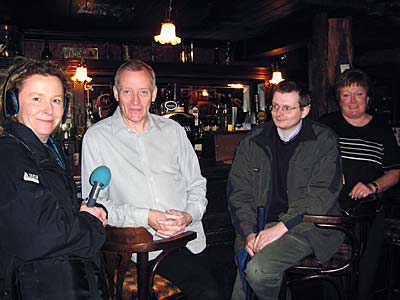 From left to right: Caroline Nolan, Tom Neill, William Roulston and Gwen, the owner of Grace Neill's pub.
