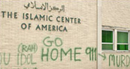 grafitti on the wall of an Islamic centre in the US