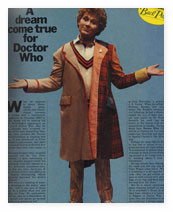 Article from Radio Times featuring actor Colin Baker wearing two jackets.