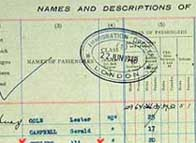 Detail from the Empire Windrush passenger list, highlighting Ali Curling