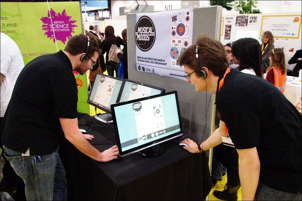 R&D Staff set up the Musical Moods experiment at the Big Bang Fair