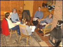 A discussion group at a farmhouse in Osgodby.