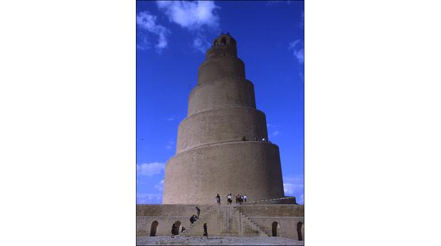 The spiral minaret at the city of Samarra. Copyright St John Simpson