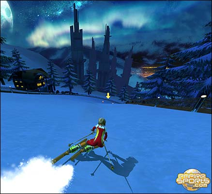 A screenshot of downhill skiing in Sportopia. Pic courtesy of EoS